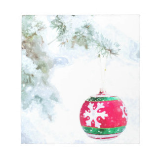 Christmas ornament white snow watercolor notepad