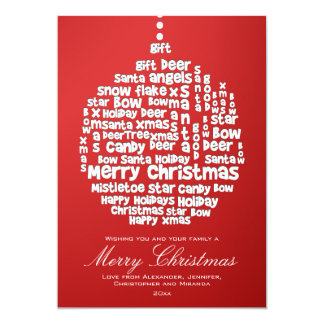 "Christmas Ornament White Word Art on Red 5"" X 7"" Invitation Card"