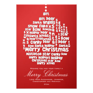 Christmas Ornament White Word Art on Red Personalized Announcement