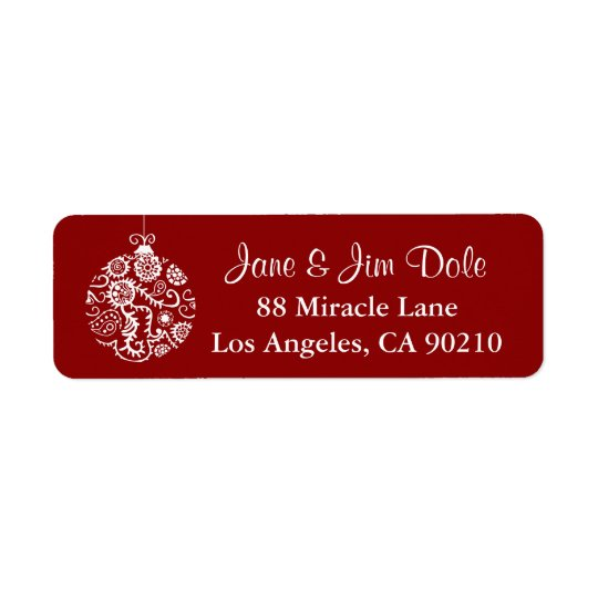 Christmas Ornament Winter Holiday Red Label 1 Return Address Label