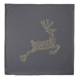 Christmas ornamental line golden deer duvet cover