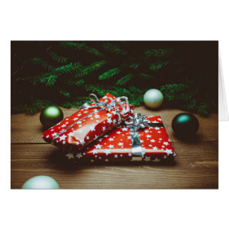 Christmas Ornaments and White Star Presents Card