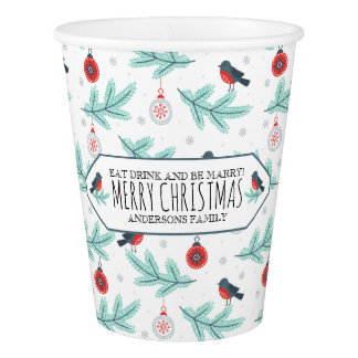 Christmas Ornaments & Bird Winter Pattern Paper Cup