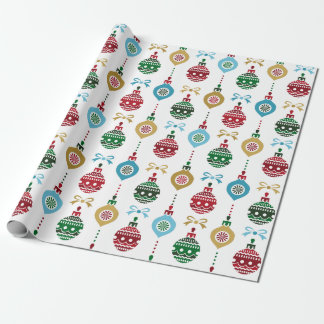 Christmas Ornaments Blue Gold Red Wrapping Paper 2