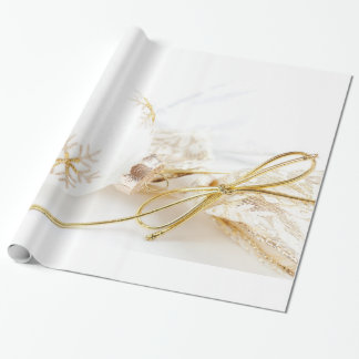 Christmas Ornaments Fancy Gold White Glitter Wrapping Paper