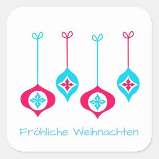 Christmas Ornaments Fröhliche Weihnachten Square Sticker