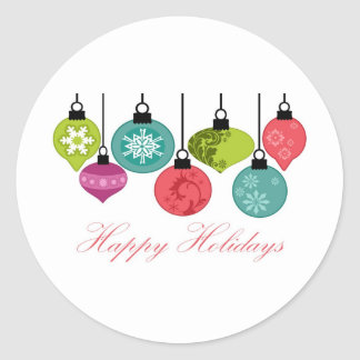 Christmas Ornaments Happy Holidays Classic Round Sticker