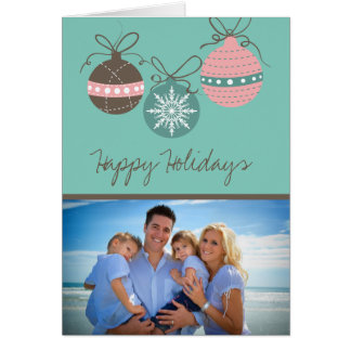 Christmas Ornaments Holiday Folded Card-teal