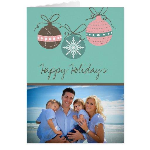 Christmas Ornaments Holiday Folded Card-teal