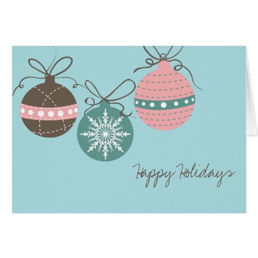 Christmas Ornaments Holiday Folded Note Card-blue