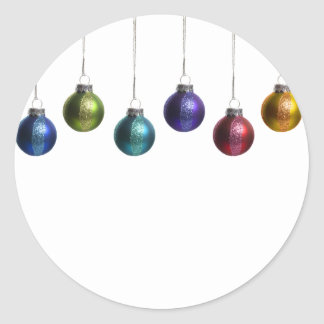 Christmas Ornaments in Teal Purple Red Green Gold Round Sticker