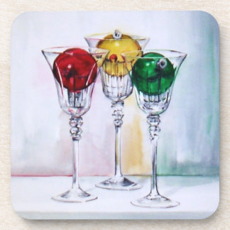 Christmas Ornaments in Wine Glasses Coasters