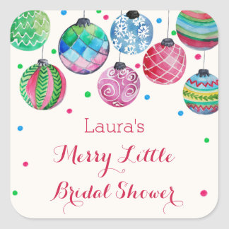 Christmas Ornaments Merry Little Bridal Shower Square Sticker