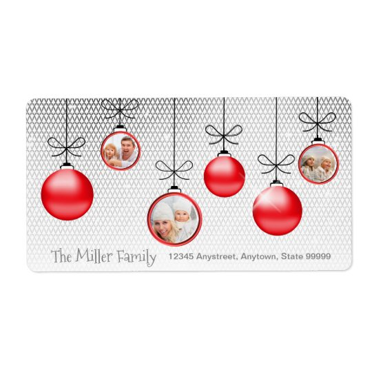 Christmas Ornaments Photo Template Red ID251 Shipping Label