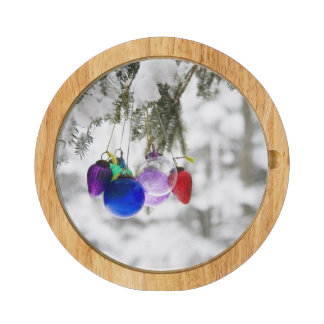 Christmas ornaments rectangular cheeseboard