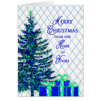Christmas, Our Home to Yours, Blue/Tree, Gifts Card