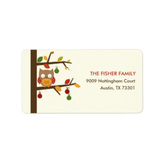 Christmas Owl Address Label