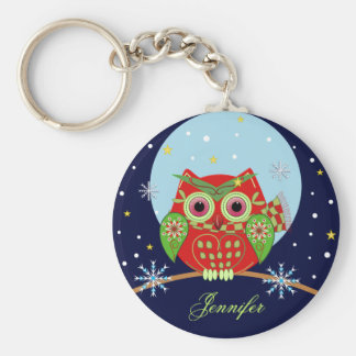 Christmas Owl and Name Keychain