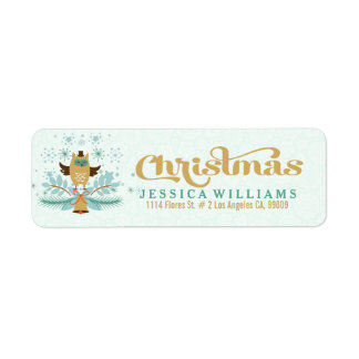 Christmas Owl, Bell And Wreath Design Return Address Label
