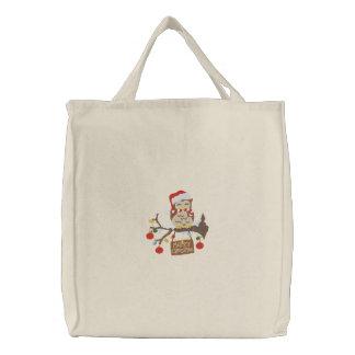 Christmas Owl Canvas Bag