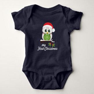 Christmas Owl - First Christmas Baby Bodysuit