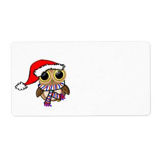 Christmas Owl Shipping Label