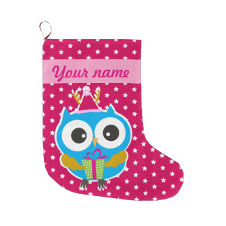 Christmas Owl Large Christmas Stocking