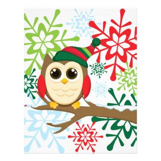 Christmas owl letterhead template