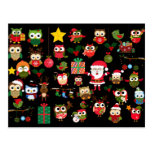 Christmas Owl Pattern Postcards