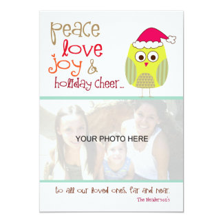 Christmas Owl Photo Card, Recycled Stock Card