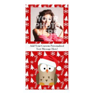 Christmas Owl with Santa Hat Card