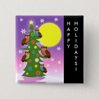 Christmas owls 2 inch square button