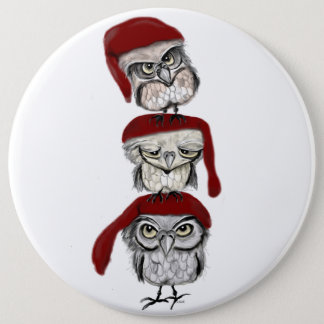 Christmas Owls 6 Inch Round Button