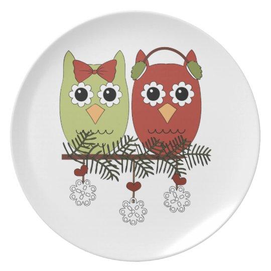Christmas Owls Holiday Plate