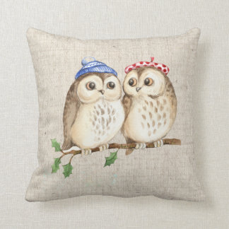 christmas owls  linen look pillow cushion