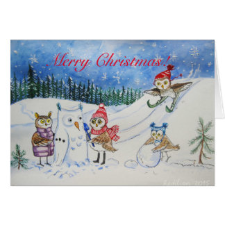 Christmas owls playing in snow card