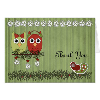 Christmas Owls Thank You Cards