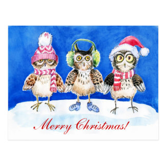 Christmas owls watercolor art postcard