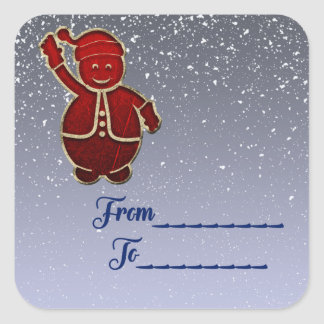 Christmas package sticker From and To snow Santa