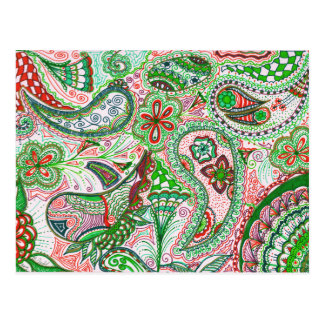 Christmas Paisley Post Card