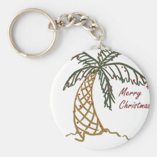 Christmas Palm Basic Round Button Keychain