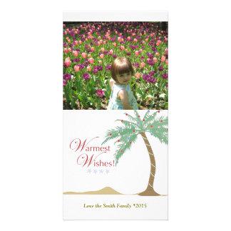 Christmas Palm Tree Beach Vertical Photo Card