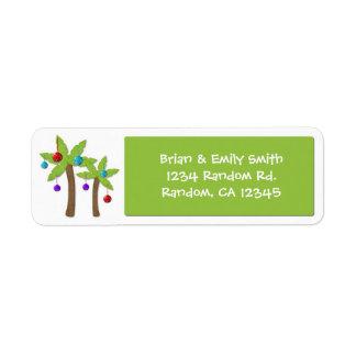 Christmas palm tree custom holiday labels