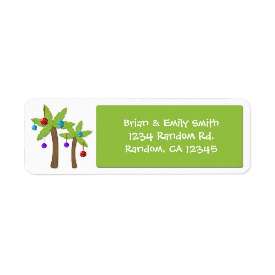 Christmas palm tree custom holiday labels