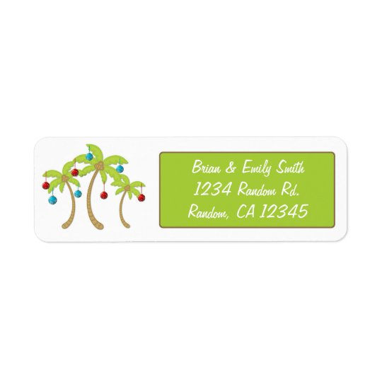 Christmas palm tree ornament return address labels