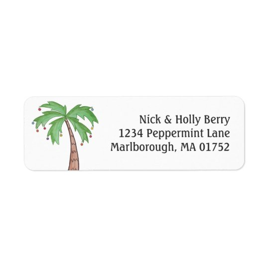 Christmas Palm Tree Return Address Label