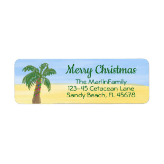 Christmas Palm Tree Return Address Label Watercolr