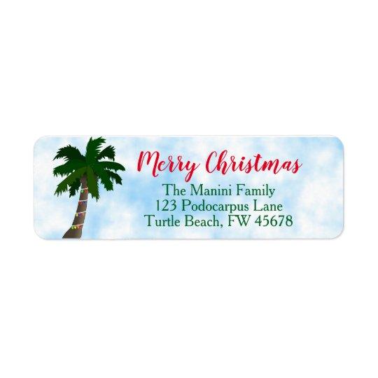 Christmas Palm Tree Return Address Labels Custom