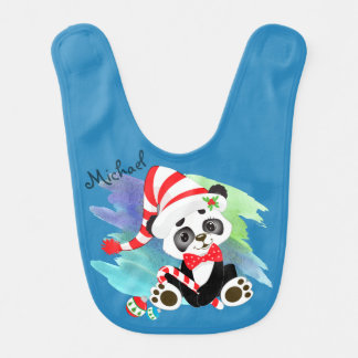 Christmas Panda Bear Bib
