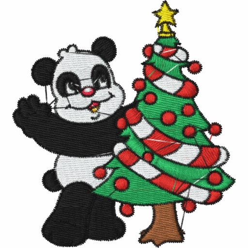 Christmas Panda Bear Embroidered Shirt